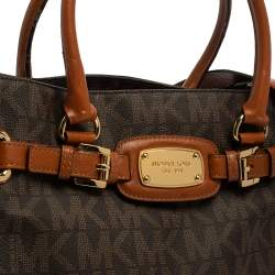 MICHAEL Michael Kors Brown Signature Coated Canvas and Leather Hamilton Tote