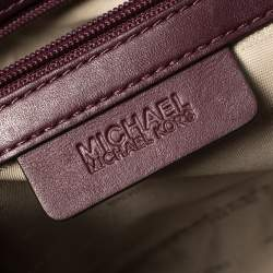 Michael Kors Burgundy Leather Medium Selma Diamond Grommet Satchel
