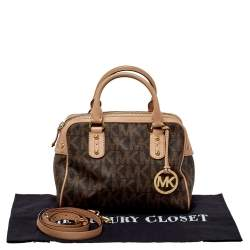 MICHAEL Michael Kors Brown/Pink Signature Coated Canvas and Leather Satchel