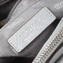 MICHAEL Michael Kors Metallic Silver Leather Medium Kellen Satchel