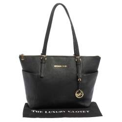 MICHAEL Michael Kors Black Leather Medium Jet Set Top Zip Tote