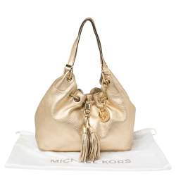 MICHAEL Michael Kors Gold Leather Camden Drawstring Hobo
