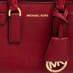 MICHAEL Michael Kors Dark Red Saffiano Leather Mini Dillon Tote