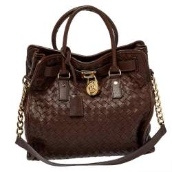 MICHAEL Michael Kors Dark Brown Woven Leather Large Hamilton North South Tote