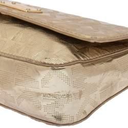 MICHAEL Michael Kors Metallic Gold Signature Leather Jet Set Shoulder Bag
