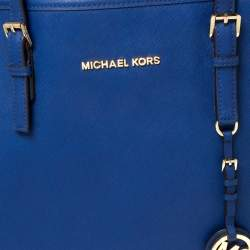 Michael Kors Royal Blue Saffiano Leather Large Jet Set Travel Tote