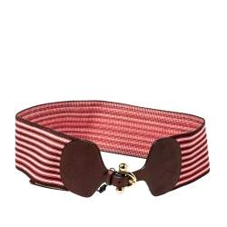 Missoni Tricolor Garter and Leather Wide Stretch Belt 80CM