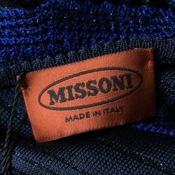 Missoni Blue and Black Lurex Knit Ruffled Sleeveless Dress M
