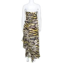 Missoni Multicolor Tiger Print Silk Ruffled Strapless Tansy Dress M