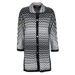 Missoni Monochrome Textured Knit Button Front Cardigan Tunic M