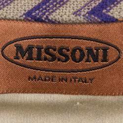 Missoni Beige Chevron Pattern Wool Maxi Skirt M