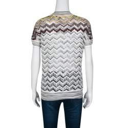 Missoni Multicolor Chevron Pattern Knit Draped Top M