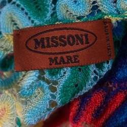 Missoni Mare Multicolor Perforated Patterned Knit Faux Wrap Tie Detail Kaftan Dress S