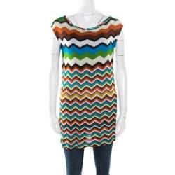 Missoni Mare Multicolor Chevron Pattern Knit Sleeveless Tunic S