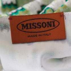 Missoni Green and White Patterned Knit V-Neck Sleeveless Dress S