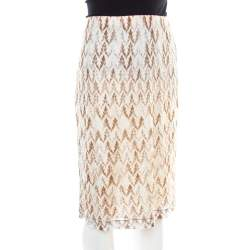 Missoni Pink and Brown Perforated Knit Elasticized Waist Skirt L