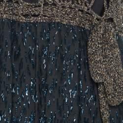 M Missoni Gold Crochet Detail Short  Dress S