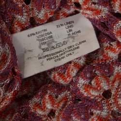 Missoni Purple and Orange Perforated Knit Drawstring Detail Top M