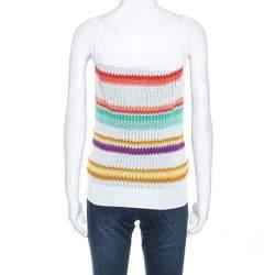Missoni White Multicolor Striped Knit Sleeveless Top M