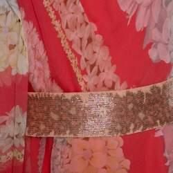 Missoni Coral Pink Floral Print Silk One Shoulder Maxi Dress S