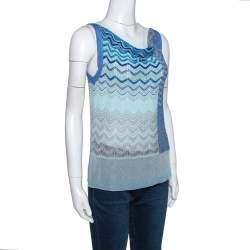 Missoni Blue Lurex Knit Cowl Neck Sleeveless Top S