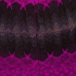 Missoni Purple Crochet Knit Sleeveless Fitted Dress S