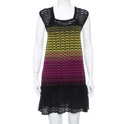 Missoni Multicolor Perforated Knit Ruffle Detail Shift Dress S