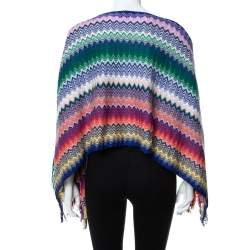 Missoni Multicolor Chevron Patterned Knit Fringe Detail Poncho (One Size)