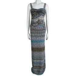 Missoni Multicolor Textured Wool Sleeveless Maxi Dress S