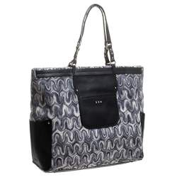 Missoni Grey/Back Fabric and Leather Shopper Tote