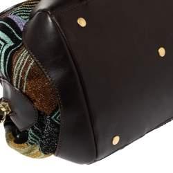 Missoni Multicolor Lamé Fabric and Leather Zipped Satchel