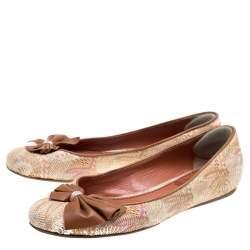 Missoni Multicolor Woven Fabric Bow Detail Ballet Flats Size 38.5