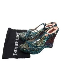 Missoni Green Leather Platform Ankle Strap Sandals Size 38