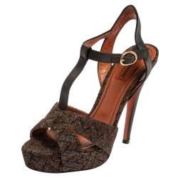 Missoni Multicolor Zigzag Lurex And Satin  T Strap  Platform Sandals Size 38