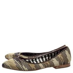 Missoni Metallic And Brown Fabric And Leather Ballet Flats Size 39