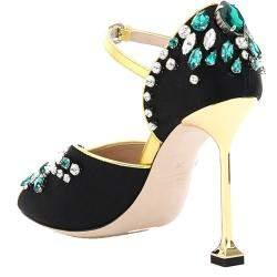 Miu Miu Black Satin Crystal Sandals Size EU 36