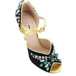 Miu Miu Black Satin Crystal Sandals Size EU 38