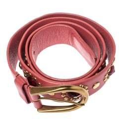 Miu Miu Old Rose Pink Soft Leather Embellished Buckle Belt 90CM