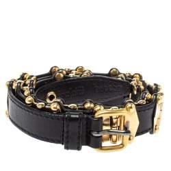 Miu Miu Black Leather Studded Grommet Buckle Belt 90CM