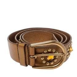 Miu Miu Golden Brown Soft Leather Embellished Buckle Belt 90CM