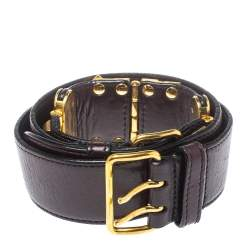 Miu Miu Maroon Leather Studded Belt 80CM