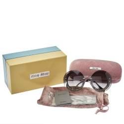Miu Miu Pale Gold Tone/ Grey Gradient SMU10R Reveal Round Sunglasses