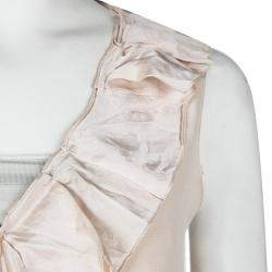 Miu Miu Blush Pink Silk Ruffle Detail Sleeveless Dress M