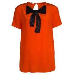 Miu Miu Orange Silk Contrast Lace Bow Detail Short Sleeve Top M