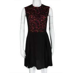 Miu Miu Black and Orange Floral Lace Pleat Detail Dress S