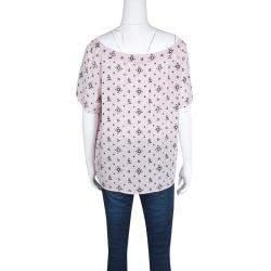 Miu Miu Blush Pink Floral Print Neck Tie Detail Short Sleeve Top M