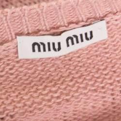 Miu Miu Pink Contrast Lace Trim Tie Detail Sweater S