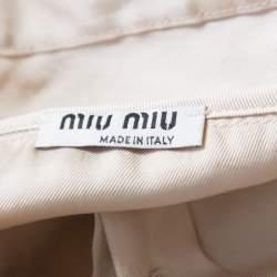 Miu Miu Beige Satin Ruched Bodice Detail Short Sleeve Blouse M