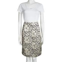 Miu Miu Grey Floral Lurex Jacquard Knee Length Skirt M