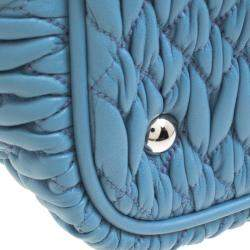 Miu Miu Light Blue Matelasse Leather Swarovski Crystal Tote